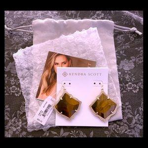 Kirsten Gold Drop Earrings In Brown Tigers Eye